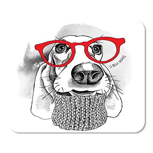 Mousepad Computer Notepad Office Porträt von Hund Basset Hound im Winter Strickschal Home School Game Player Computer Worker Inch