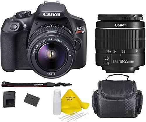 Canon EOS T6 SLR Camera w/EF-S 18-55mm F/3.5-5.6 III Zoom Lens+ Case+ TopKnotch Deals Cloth (International Model) Bundle