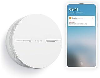 Netatmo NA-NSA-EC Slimme Rookmelder, 10 Jaar Batterij, Geautomatiseerde Tests, Direct Aangesloten Alarm, Wit