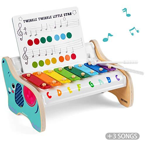 TOP BRIGHT Holz Xylophon Kinder 1 Jahr, Musik Instrumente Kinder Holz, Kinderspielzeug 1 Jahr Junge Mädchen
