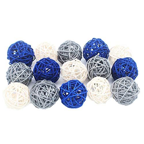 Ensemble de 15 boules décoratives en osier de couleurs mixtes (bleu marine, gris et blanc) sur le thème nautique - Idéal pour la décoration de fêtes, d'anniversaires, de mariages ou de showers de bébé