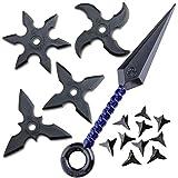 Juego de estrella de lanzamiento de juguete de goma (4 estrellas, 1 Kunai azul, 10 Makibishi) Ninja Accesorios de disfraz