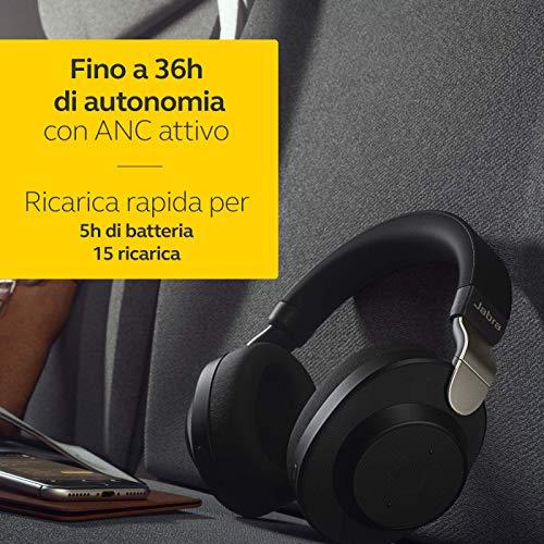 Jabra Elite 85h Cuffie Wireless, Bluetooth, Musica e Chiamate con ANC, Cancellazione del Rumore Attiva, Audio Adattivo SmartSound, Alexa Integrata, Nero/Titanio