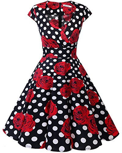 bbonlinedress 1950er Vintage Retro Cocktailkleid Rockabilly V-Ausschnitt Faltenrock Black White Rose XS
