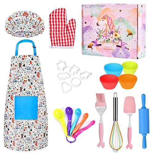 Swiftrans Kids Cooking and Baking Set 30 Pcs Kids Chef Role Play Costume Set for Girls and Boys Includes Kids Chef Hat toddler apron Cooking and Baking Supplies for The Curious Junior Chef