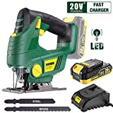 Cordless Jigsaw, POPOMAN 20V Jig Saw with LED Light, 2,000mAh Battery, 1H Fast Charger, 0 - 2,200SPM Adjustable Speed, -45°~ 45° Bevel Cutting, 2Pcs Blades for Wood, Plastic and Metal Cuts - MTW500B