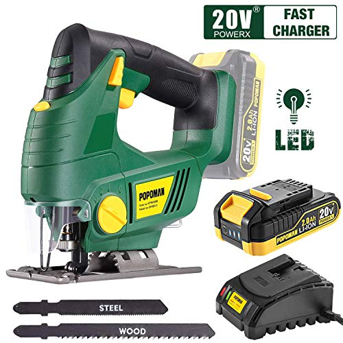 Cordless Jigsaw, POPOMAN 20V Jig Saw with LED Light, 2,000mAh Battery, 1H Fast Charger, 0-2,200SPM Adjustable Speed, -45°~ 45° Bevel Cutting, 2Pcs Blades for Wood, Plastic and Metal Cuts - MTW500B