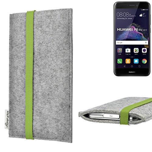flat.design Handy Hülle Coimbra für Huawei P8 Lite 2017 Dual SIM maßgefertigte Handytasche Filz Tasche fair grün hellgrau