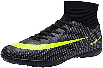 DoneXcaseo CR Indoor Soccer Shoes for Boys - Soccer Shoes High Tops Turf Outdoor - High Ankle Boots AG Ground Outdoor - Indoor Soccer Shoes High Tops Big Kids Black, 9
