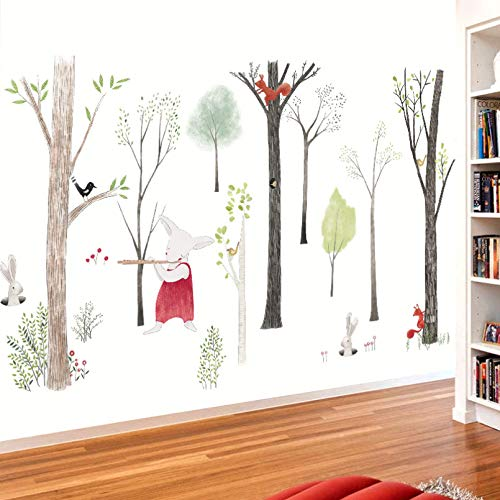 TAOYUE Large Music Forest Wall Sticker Cartoon Home Decor DIY Bedroom Kids Room Nursery Background Mural Art Decals Poster Sticker