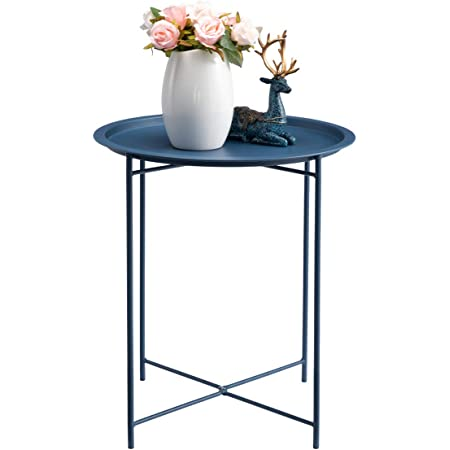 """HollyHOME Folding Tray Metal Side Table, Sofa Table Small Round End Tables, Anti-Rust and Waterproof Outdoor or Indoor Snack Table, Accent Coffee Table,(H 20.28"""" x(D) 18.11"""", Navy Blue"""