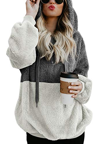 BLENCOT Womens Casual Loose Baggy Hoodies Color Block Warm Fuzzy Pullover Hooded Soft Work Sweatshirt Outwear Coat Tops Dark Grey White Medium