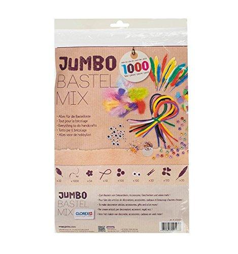 Glorex Jumbo Bastel Mix SB-Beutel, Fliz, Bunt, 30 x 21 x 3 cm, 1000-Einheiten