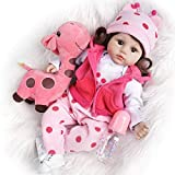 TiaNara Reborn Baby Dolls Girl 18 Inches Realistic Silicone Real Life Doll with Giraffe Plush Lifelike Weighted Baby Doll 10-Pieces Doll Set in Gift Box