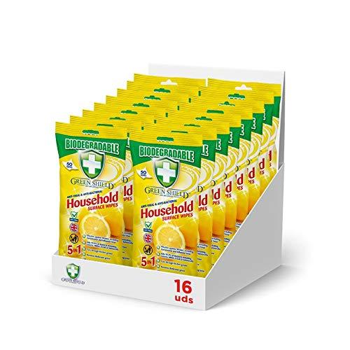 Greenshield Superficies - Pack de 16 Unidades de Toallitas Desinfectantes Manos y Superficies. Biodegradables, Antivirales y Antibacterianas Para El Hogar, 50 Unidades