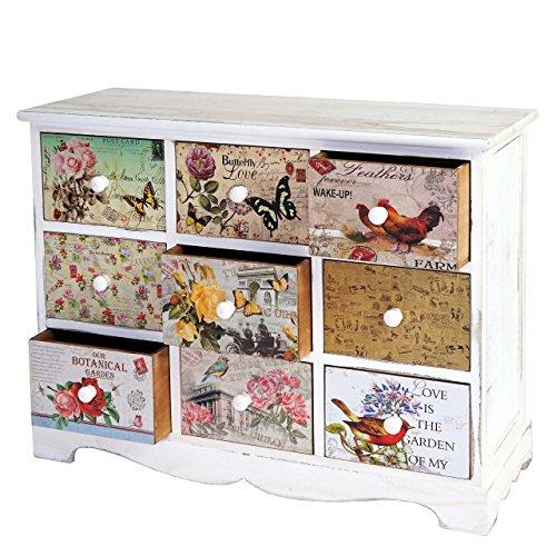 Mendler Kommode Venlo, Schubladenschrank Shabby-Look, Vintage, 9 Schubladen 60x79x30cm