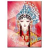 Cuadros Diamantes 5D - Mujer Oriental Personajes De La Ópera De Pekín Arte Chino 5D Diy Diamante Pintura - Kits De Punto De Cruz Bordado Redondo Completo Artesanía Para El Hogar Decoración De Ar