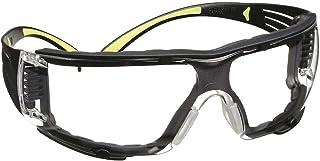 3M Safety Glasses, SecureFit, 1 Pair, ANSI Z87, Anti-Fog, Anti-Scratch, Clear Lens, Green/Black Frame, Secure Comfortable Fit, Removable Foam Gasket