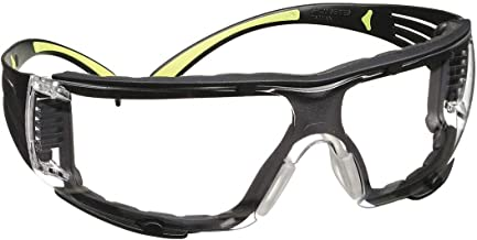 3M Safety Glasses, SecureFit, 1 Pair, ANSI Z87, Anti-Fog, Anti-Scratch, Clear Lens, Green/Black Frame, Secure Comfortable ...