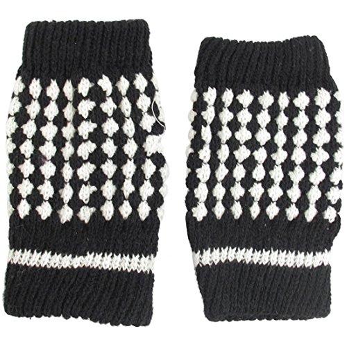sourcingmap Pour Femmes Blanc Noir Hiver Chaud Tricoté Gants Sans Doigt Gants - Noir Blanc, 19.05cm - 22.09cm