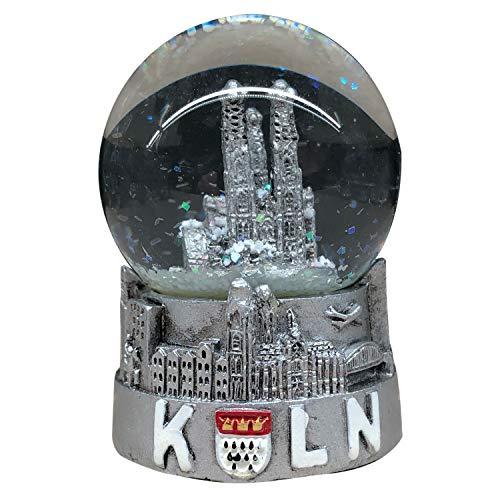 3forCologne Schneekugel Kölner Dom, Sockel mit Skyline Köln 6,5cm Glaskugel mit Schnee, Geschenk Weihnachten, in Silber