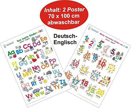 Das bunte Kinder-ABC + Meine tierischen Zahlen von 1-20 Deutsch/Englisch: 2 Lernposter 70 x 100 cm, gerollt, abwaschbar + UV-Lack beschichtet: 2 Lernposter, gerollt, abwaschbar + UV-Lack beschichtet