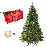 UHAPEER Árbol de Navidad de 180 cm, Árbol Artificial con 1000 PVC Puntas, con Soporte, Bolsa de Almacenamiento, 10M Luces de Alambre de Cobre