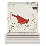 ALUONI Coaster - Absorbent Ceramic Coasters with Cork Base, Birdhouse, Red Cardinal Autumnal Leaves, Set for Birthday, Housewarming - 3.7x3.7 inch, Square No10143, 6PCS