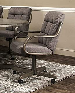 Caster Chair Company Garrett Swivel Tilt Caster Arm Chair in Smoke Tweed Fabric
