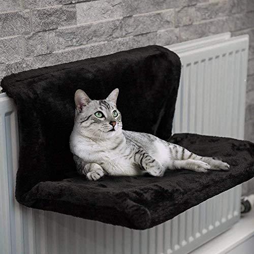Cuccia Gatto Calorifero 46 x 30 x 25 cm Lettino Gatto Termosifone Caldo Mordbio da Appendere per Gatto e Gattino Cuccia Lettino Gatto Invernale (nero)