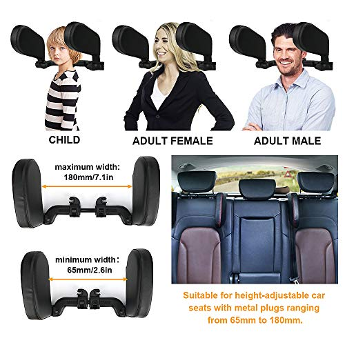 welltop Car Headrest Pillow, Head Neck Support Detachable, Sleeping Travel Car Seat Pillow, Adjustable U Shaped Side Leather Sleep Head Pillows Universal for Kids Adults Elders (Black)