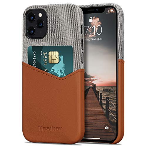 Tasikar Funda iPhone 12 / Funda iPhone 12 Pro Carcasa Cartera de Cuero y Tela con Tarjetero Compatible con iPhone 12 & iPhone 12 Pro (Marrón)