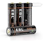 EBL 4PCS AA Piles Rechargeables 1,5V 3300mWh- Piles Rechargeables AA LR6 1,5V Tension Constante, Charge Directe