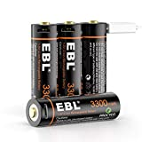 EBL AA Rechargeable Battery 1.5V AA Lithium Batteries 3300mWh High Capacity with Micro USB Cable, 2 Hours Quick Charge USB AA Rechargeable Battery 4 Packs in One Storage Case