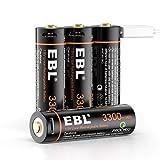EBL Pilas Recargables AA 3300mWh Alta Capacidad con Micro USB, Pilas AA Precarga y Baja Autodescarga Pilas 3300mWh (NO 3300mAh)