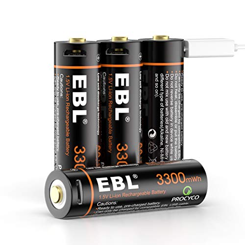 EBL 1.5V USB AA Batterie Ricaricabili con Micro USB Cavo, Pile Ricaricabili da 3300mWh, Confezione da 4 pezzi
