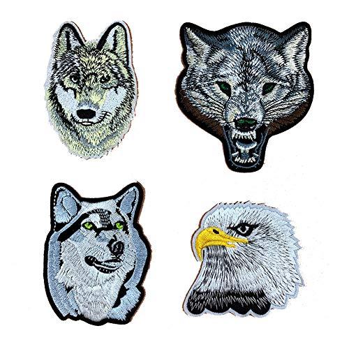Buding3D 4 Pieces Parches Termoadhesivos Grandes Cabeza De Lobo Animal Águila Parches Decorativos Bordado Apliques Etiqueta De Tela Para Ropa