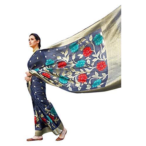 Azul Suave Hilo de Cristal Tejiendo Telar Mano De Seda De Las Mujeres Saree Festival Étnico Musulmán Eid Zari Blusa Sari 9250