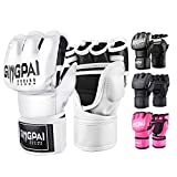 GINGPAI BOXING MMA UFC Gloves for Men Women, Fingerless Punching Heavy Bag with More Paddding Gloves for Kickboxing, Sparring, Muay Thai (White-Black, M)