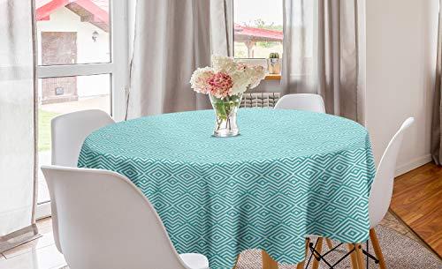 ABAKUHAUS meetkundig Rond Tafelkleed, Ruiten met Zigzags, Decoratie voor Eetkamer Keuken, 150 cm, turquoise White