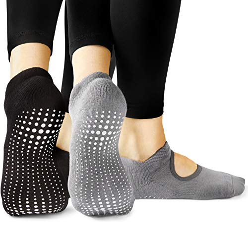 LA Active Grip Socks - 2 Pairs - Yoga Pilates Barre Non Slip - Ballet (Noire Black and Powder Grey, Small)