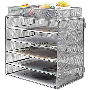 COSYAWN Paper Letter Tray Organizer 5 Tier Mesh File Tray Desktop Paper Sorter with 1 Extra File Sorter Silver