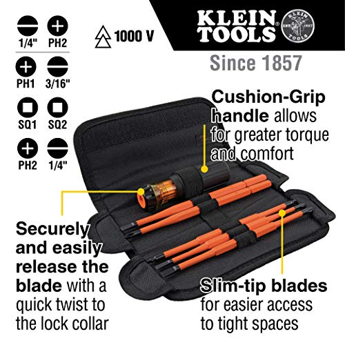Klein Tools 32288 Insulated Screwdriver, 8-in-1 Screwdriver Set with Interchangeable Blades, 3 Phillips, 3 Slotted and 2 Square Tips