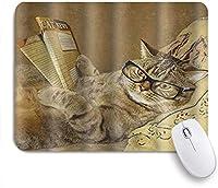 VAMIX マウスパッド 個性的 おしゃれ 柔軟 かわいい ゴム製裏面 ゲーミングマウスパッド PC ノートパソコン オフィス用 デスクマット 滑り止め 耐久性が良い おもしろいパターン (猫が読んでいる面白い動物)