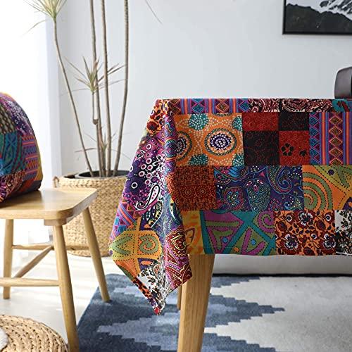 Mantel de lino y algodón, mezcla de estilo bohemio mediterráneo, mesa de comedor, mesa baja, mantel, funda de muebles, tela rectangular, parches Doodle Style (140 × 250 cm)