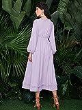 女性のフランス語Vネックウエストシャツ薄紫のドレス Color  Lilac Purple Size  L