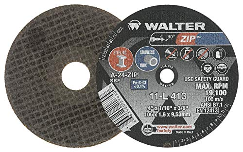 Walter 11L413 ZIP Performance Cutting and Grinding Cutoff Wheel - [Pack of 25] A-24-ZIP Grit, 4 in. Abrasive Wheel. Abrasive and Finishing Supplies