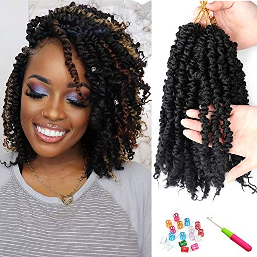 8 Packs Pre-twisted Passion Twist Hair 10inch 96strands Pre-looped Passion Twist Crochet Braids Hair Black Synthetic Bob Braiding Hair Extensions (1B#)