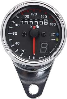 Motorcycle Universal Speedometer With Gear Retro Odometer LED Backlight Signal For Honda Yamaha Kawasaki Suzuki Cruiser Chopper Cafe Racer(Sliver)