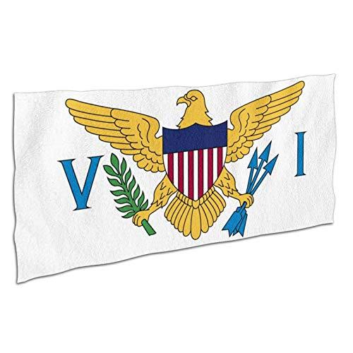 WDS6DF Toalla de baño unisex con la bandera de los Estados Unidos de las Islas Vírgenes de los Estados Unidos, de gran tamaño, color blanco, absorbente y de secado rápido